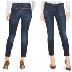 WHBM The Skimmer jeans Faux leather trim